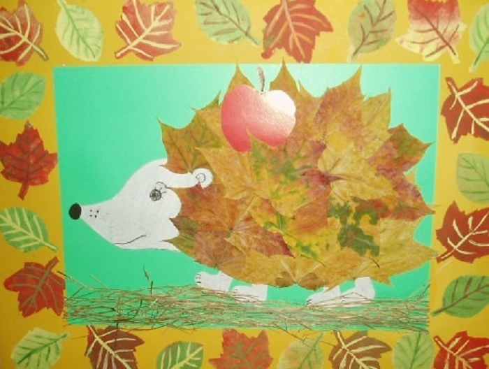Ежик с листьями поделка 82